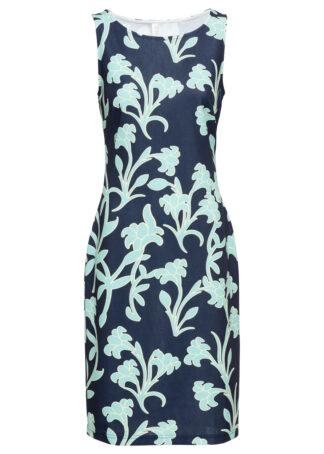 Sukienka ołówkowa z nadrukiem bonprix czarno-niebieski w kwiaty