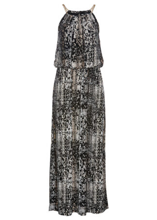 Sukienka maxi shirtowa bonprix czarno-biel wełny z nadrukiem