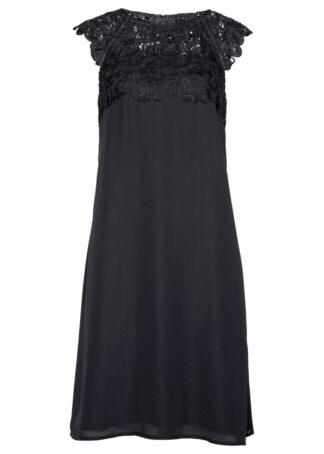 Sukienka szyfonowa z koronką bonprix czarny