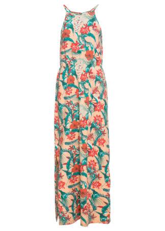 Długa sukienka z rozcięciem bonprix łososiowy pomarańczowy w kwiaty