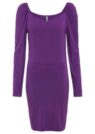 Sukienka shirtowa z rękawami bufkami bonprix głęboki fioletowy
