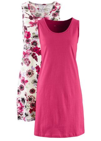 Sukienka z dżerseju (2 szt.) bonprix beżowoszary z nadrukiem + jeżynowy