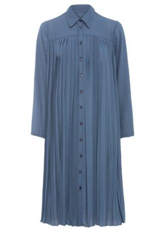 Sukienka plisowana bonprix niebieski dymny