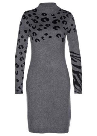 Sukienka dzianinowa z domieszką kaszmiru bonprix szary melanż - czarny leo