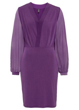 Sukienka z dżerseju z prześwitującymi rękawami bonprix głęboki fioletowy