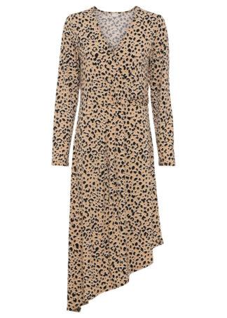 Sukienka z dżerseju bonprix czarny - leo z nadrukiem