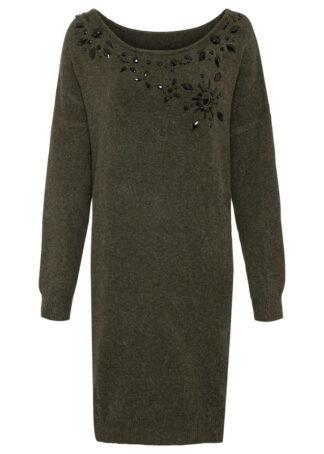 Sukienka dzianinowa bonprix nocny oliwkowy