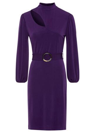 Sukienka z paskiem bonprix nocny fioletowy