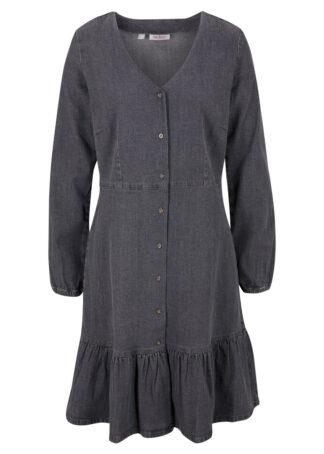Sukienka dżinsowa bonprix szary