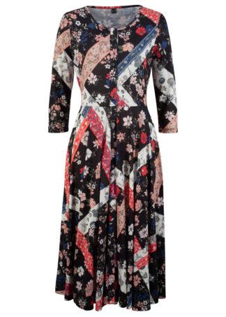Sukienka midi z kolekcji Maite Kelly bonprix czarny wzorzysty