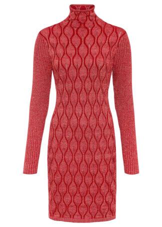 Sukienka z brokatowym połyskiem bonprix czerwony
