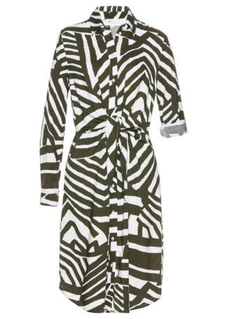 Sukienka szmizjerka bonprix ciemnooliwkowo-biały w paski