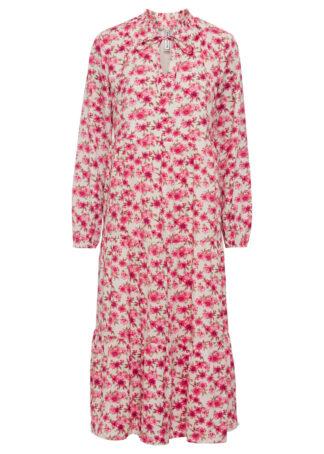 Sukienka midi bonprix beżowoszary - ciemnoróżowy w kwiaty