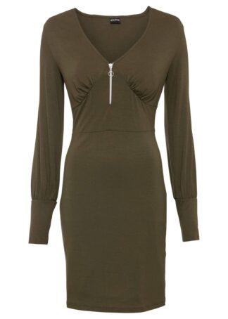 Sukienka z dżerseju z zamkiem bonprix oliwkowy