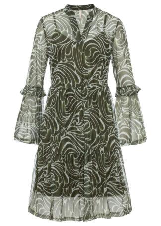 Sukienka w paski zebry bonprix oliwkowo-zielony w paski zebry