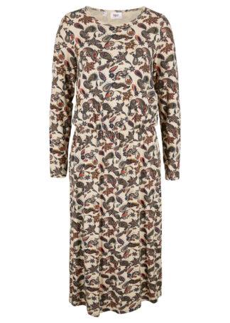 Sukienka midi ze stretchem bonprix beżowo-szary paisley