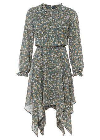 Sukienka z dłuższymi bokami bonprix zielony eukaliptusowy w kwiaty