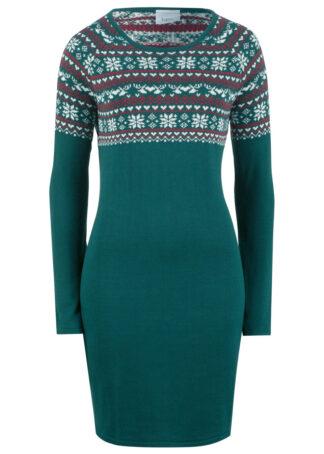 Sukienka dzianinowa w żakardowy wzór bonprix głęboki zielony