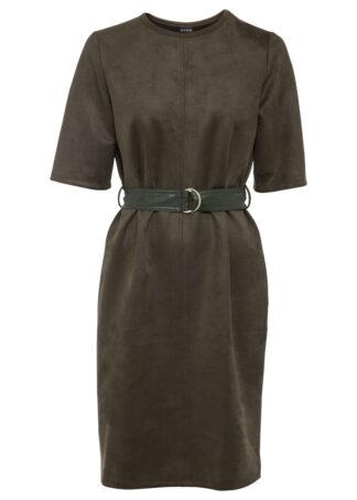Sukienka ze sztucznej skóry z paskiem bonprix oliwkowy