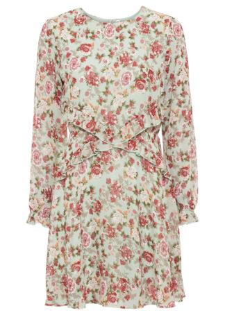 Sukienka w kwiaty bonprix szarozielony w kwiaty