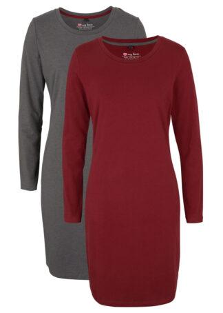 Sukienka z dżerseju (2 szt.) bonprix antracytowy melanż + czerwony rubinowy