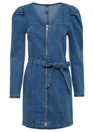 """Sukienka dżinsowa z poliestru z recyklingu bonprix niebieski """"stone"""""""