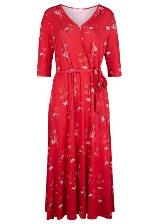Sukienka kopertowa bonprix czerwony w kwiaty