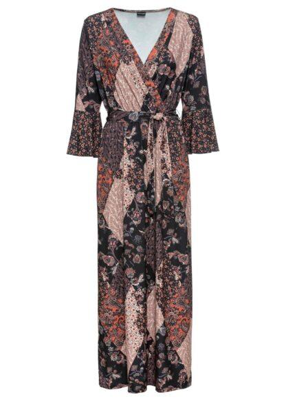 """Długa sukienka bonprix czarno-brązowy """"paisley"""""""