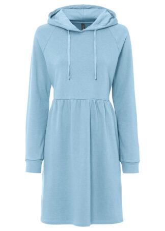 Sukienka dresowa z kapturem bonprix mglisty niebieski