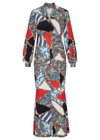 Długa sukienka wzorzysta bonprix czarno-czerwono-beżowy z nadrukiem