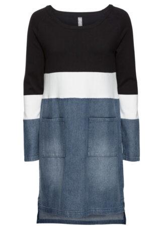 """Sukienka w połączeniu odmiennych materiałów bonprix czarno-biel wełny - niebieski """"stone"""""""