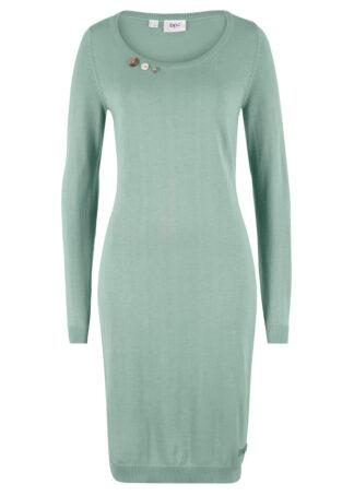 Sukienka dzianinowa z ozdobnymi guzikami bonprix dymny zielony