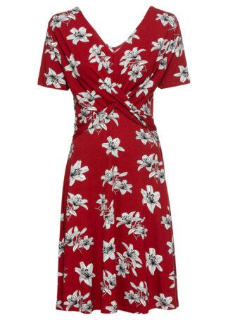 Sukienka z dżerseju z ozdobnym drapowaniem bonprix czerwony w kwiaty