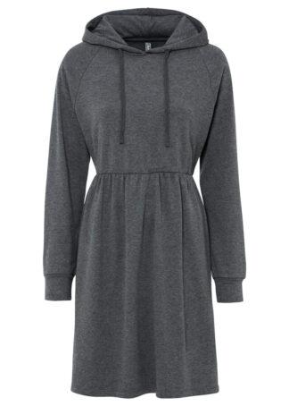 Sukienka dresowa z kapturem bonprix antracytowy melanż