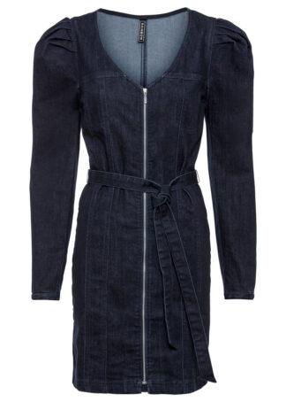 Sukienka dżinsowa z poliestru z recyklingu bonprix ciemny denim