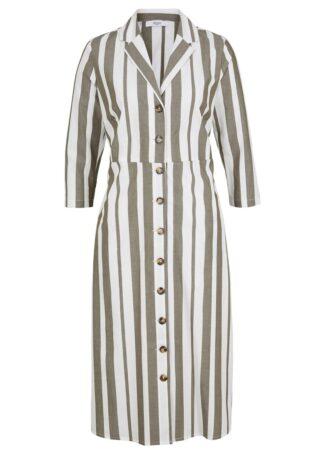 Sukienka koszulowa w paski z kolekcji Maite Kelly bonprix ciemnooliwkowo-biały w paski