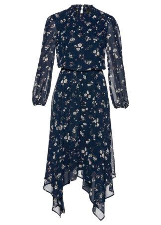 Sukienka szyfonowa z nieregularną linią dołu bonprix ciemnoniebieski w kwiaty