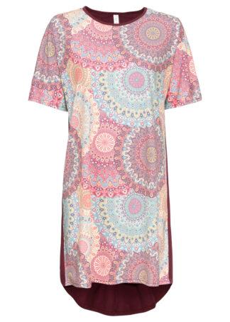Sukienka shirtowa bonprix czerwono-niebiesko-beżowy wzorzysty