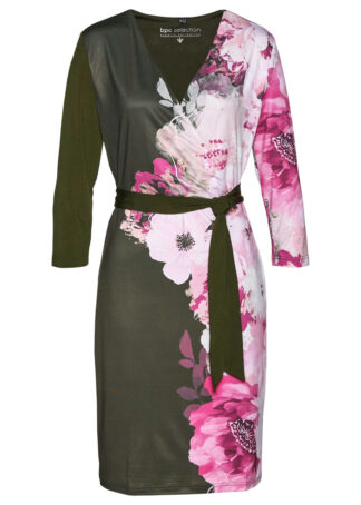 Sukienka shirtowa bonprix nocny oliwkowy - różowa magnolia w kwiaty