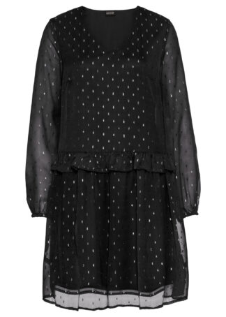 Sukienka szyfonowa bonprix czarny metaliczny