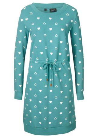 Sukienka dresowa bonprix matowy kobaltowy wzorzysty