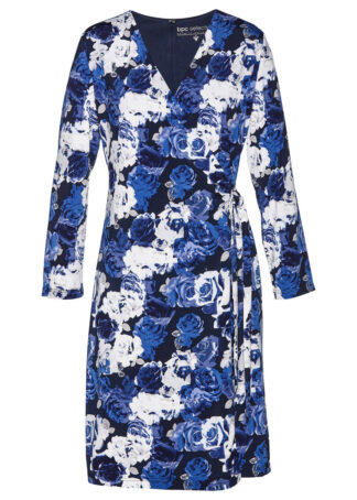 Sukienka shirtowa bonprix ciemnoniebiesko-biały w kwiatowy deseń