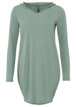 Sukienka shirtowa z kapturem bonprix dymny zielony