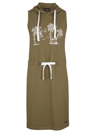Sukienka z dżerseju z kapturem bonprix ciemnooliwkowy