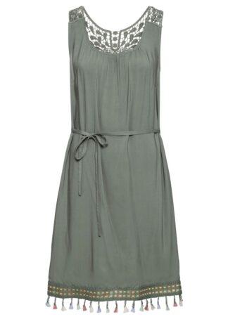 Sukienka z szydełkową koronką bonprix oliwkowy