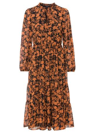 Sukienka szyfonowa z nadrukiem bonprix czarno-koniakowy w kwiaty