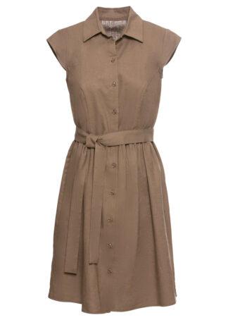 Sukienka z lnu z guzikami bonprix orzechowy