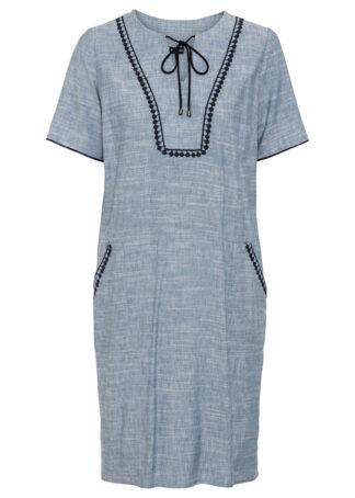 Sukienka z kontrastowymi tasiemkami bonprix jasnoniebiesko-ciemnoniebieski melanż