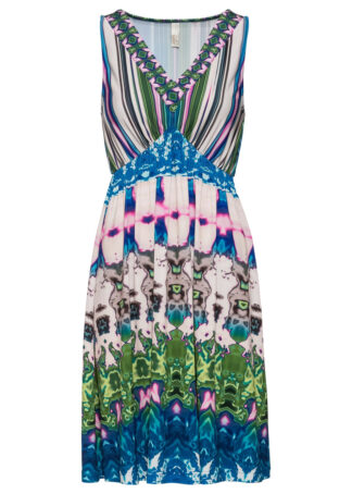 Sukienka w batikowy wzór bonprix niebiesko-zielony z nadrukiem