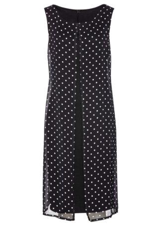 Sukienka shirtowa bonprix czarno-biały w kropki